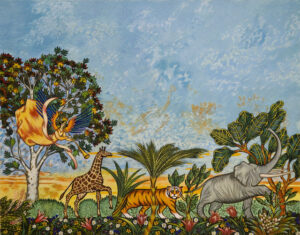 painting featuring a giraffe, tiger, and elephant with trees and blue sky in the background. cheerful painting. angel hovers over the giraffe at the back of the line of the three animals.