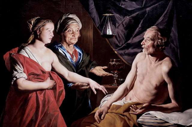 17th c. painting of elderly sarah presenting hagar in a red dress with one breast exposed to elderly and half-naked abraham